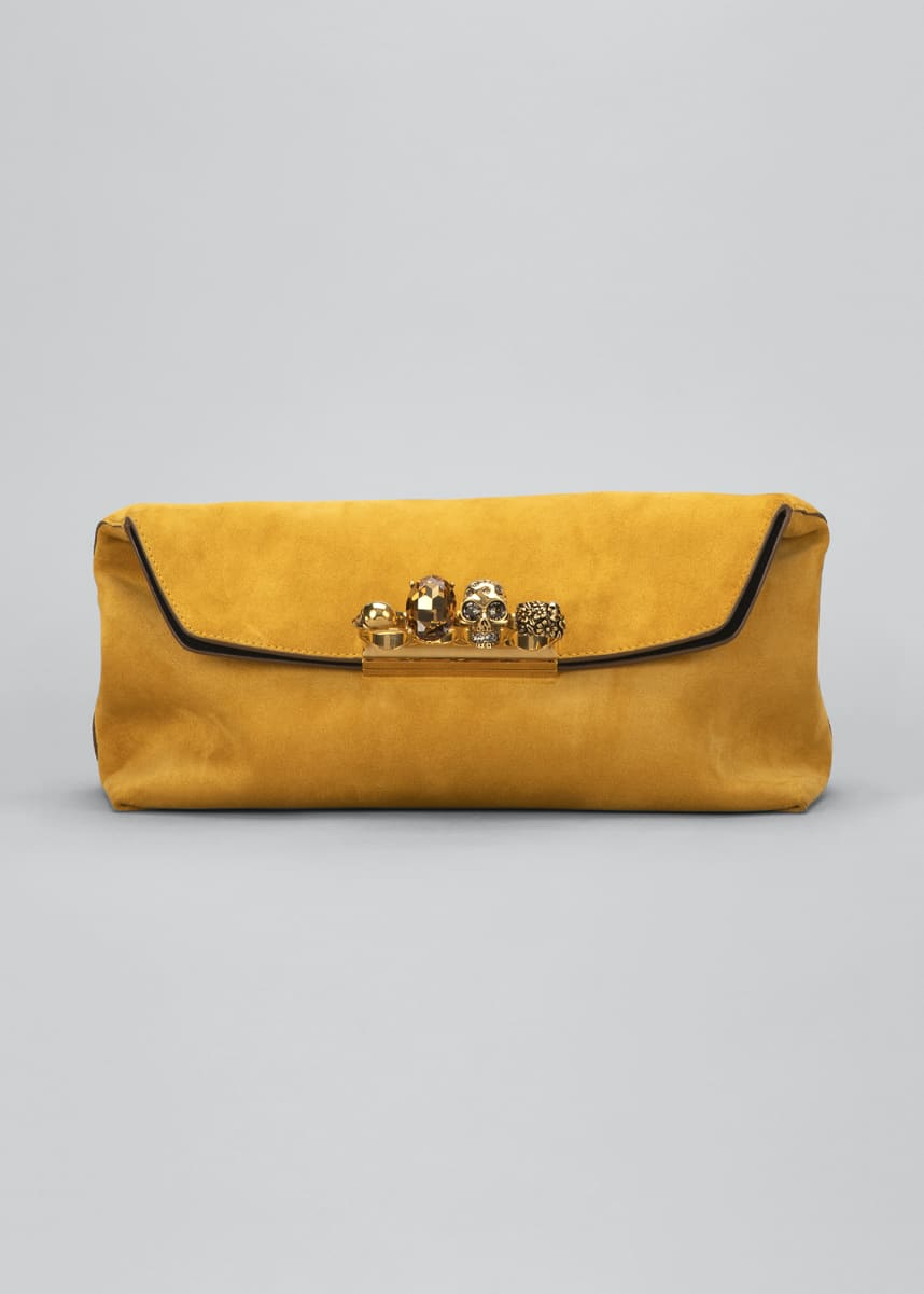 Alexander McQueen Suede Four-Ring Clutch