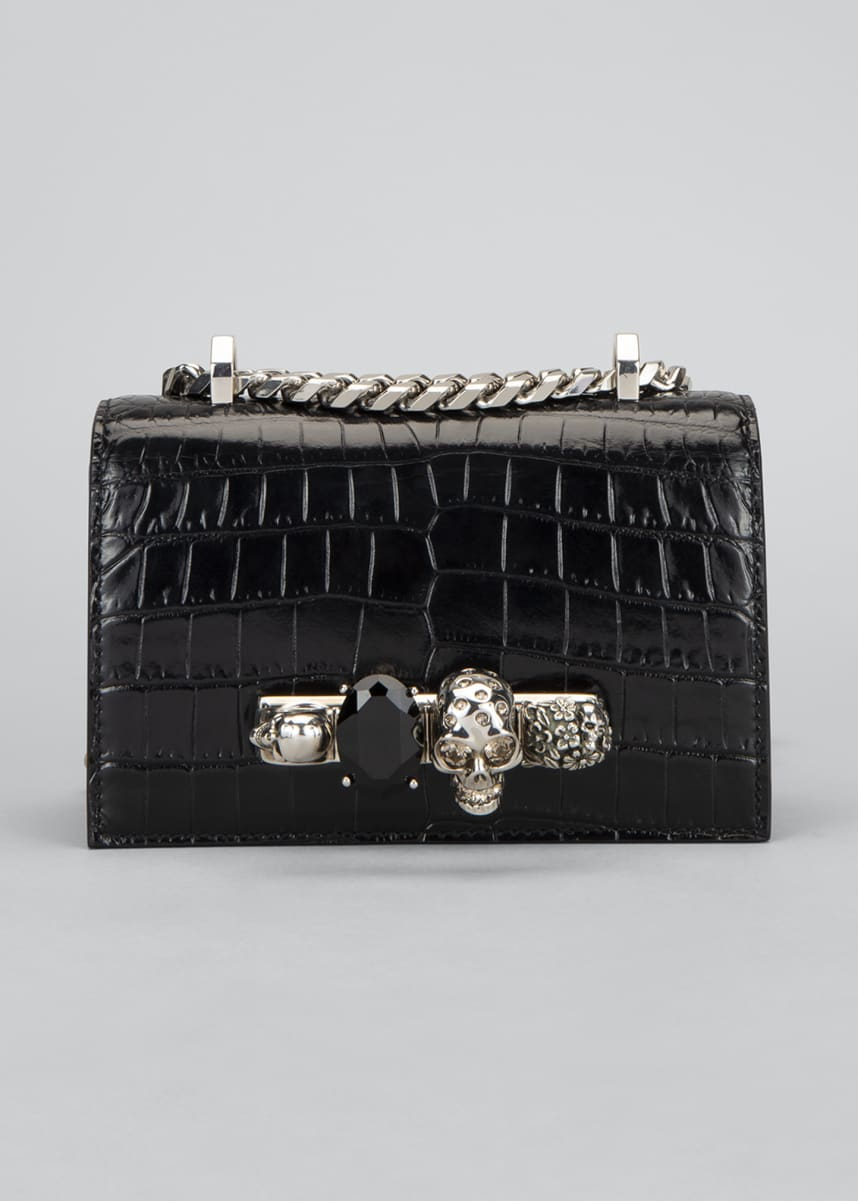 Alexander McQueen Mini Mock-Croc Skull Satchel Bag