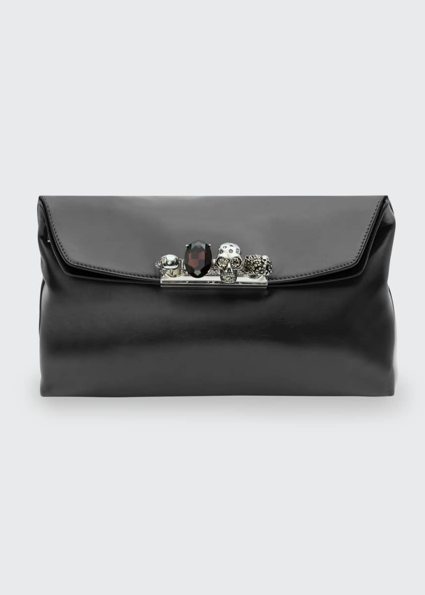 Alexander McQueen Nube Four-Ring Lambskin Clutch Bag