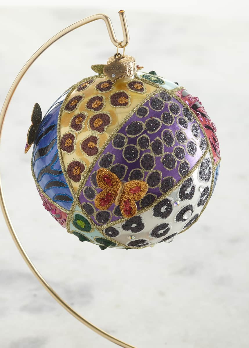 "Jay Strongwater Animal Quilt 4"" Glass Ornament"