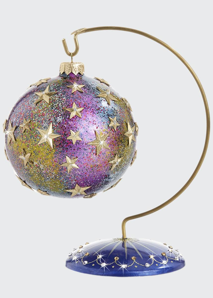 Jay Strongwater Star Night Star Bright Glass Ornament with Stand
