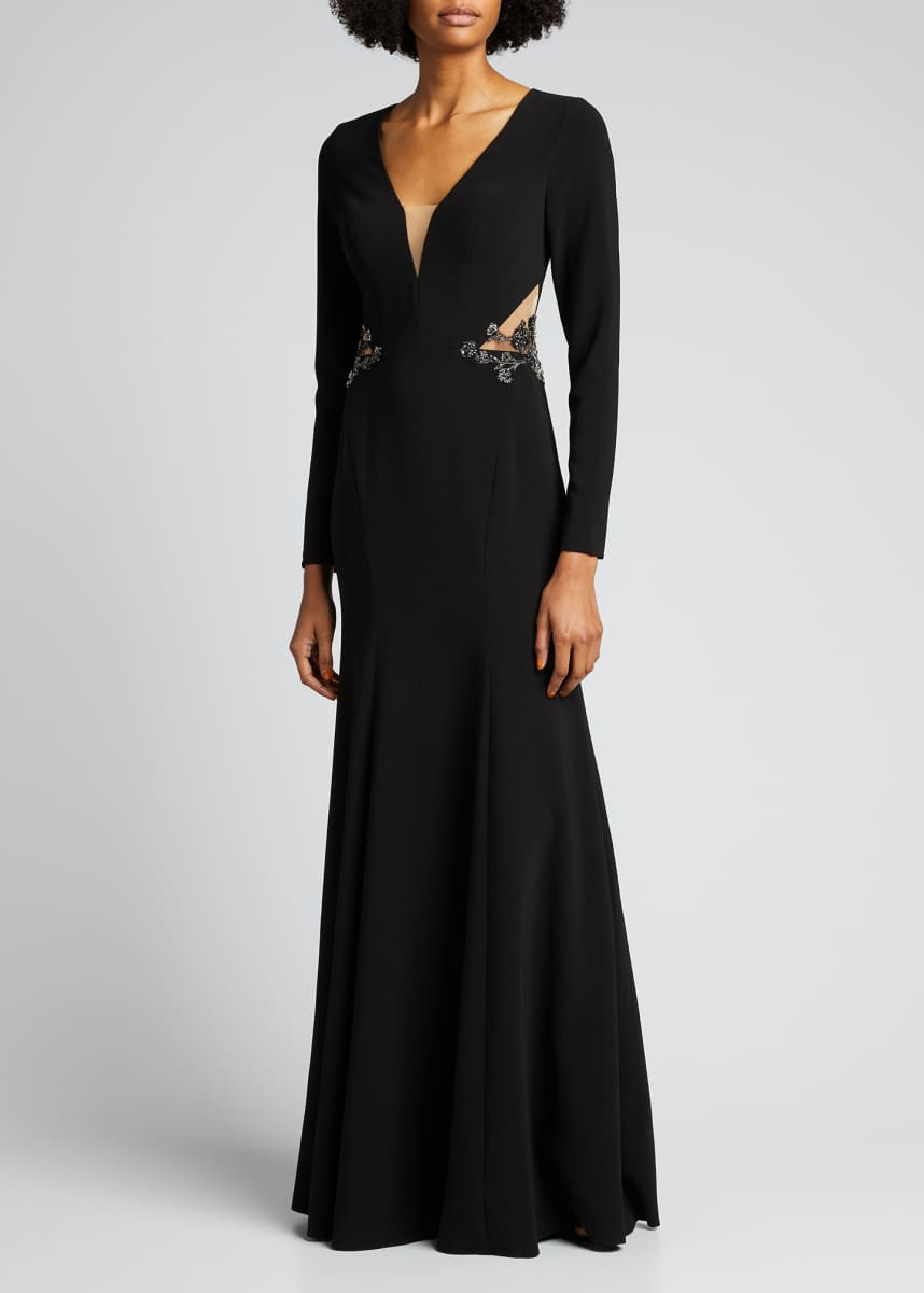 Marchesa Notte Deep V-Neck Long-Sleeve Crepe Gown with Cutout Back