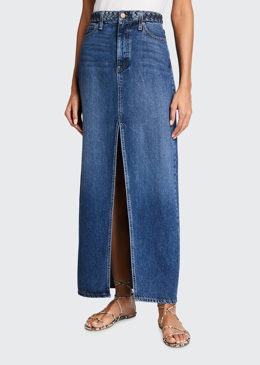 ALICE + OLIVIA JEANS Gorgeous Braided Denim Maxi Skirt