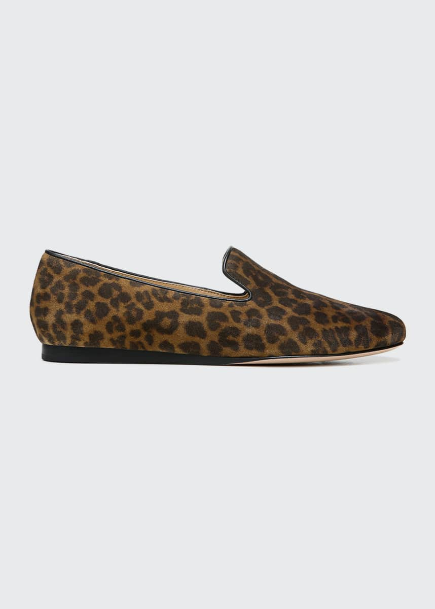 Veronica Beard Griffin Leopard-Print Suede Loafers