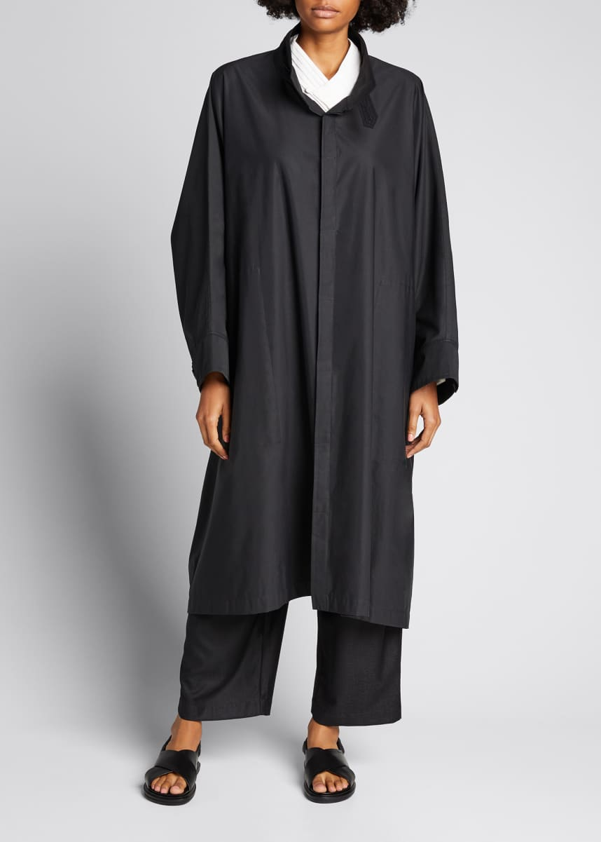 Eskandar Sloped-Shoulder Long Raincoat