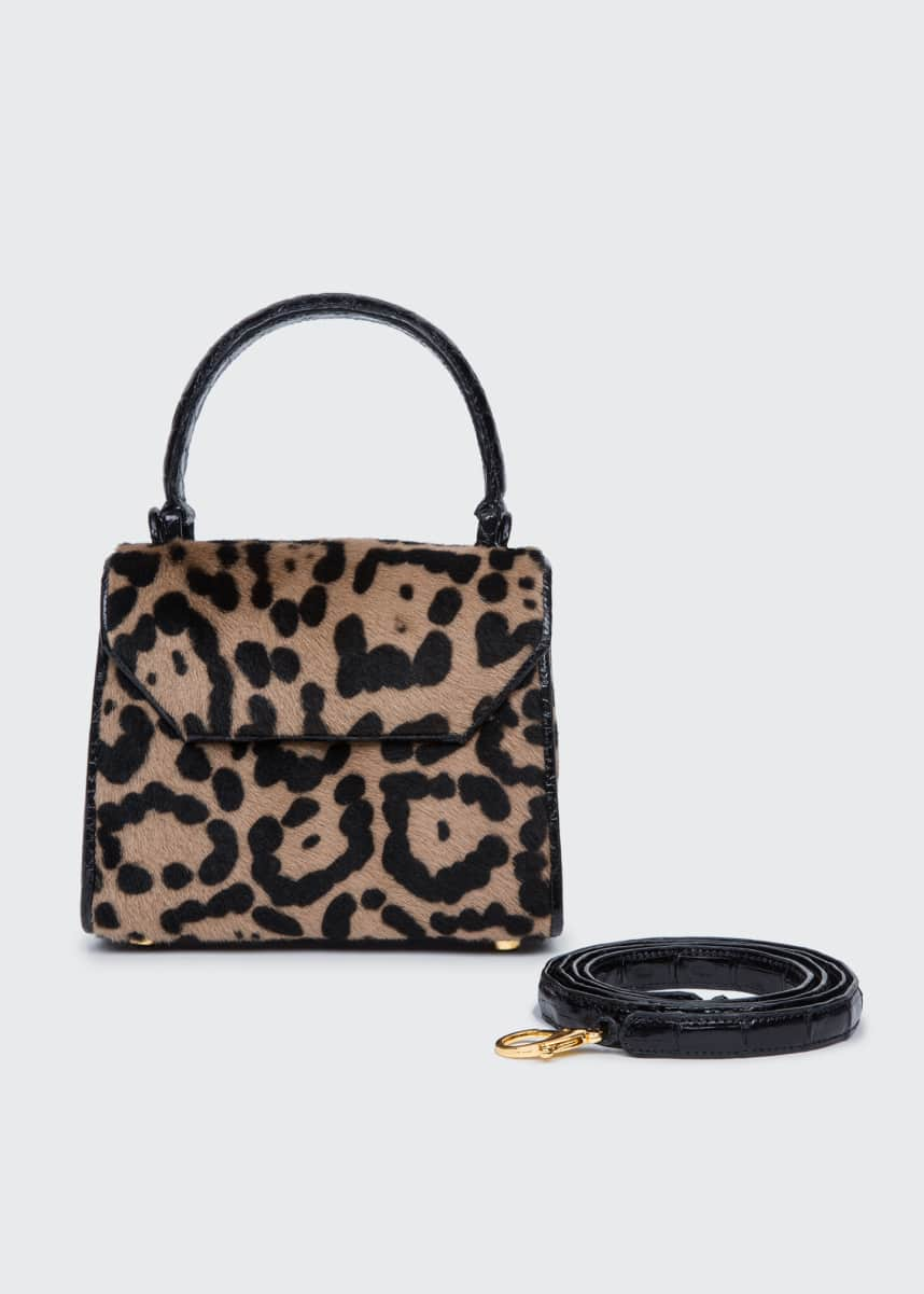 Nancy Gonzalez Lily Mini Shaved Shearling Fur & Crocodile Top-Handle Bag