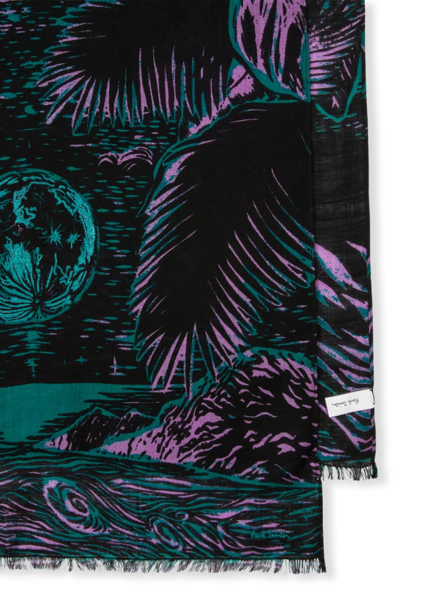Paul Smith Men's Woodcut Graphic Wool Scarf