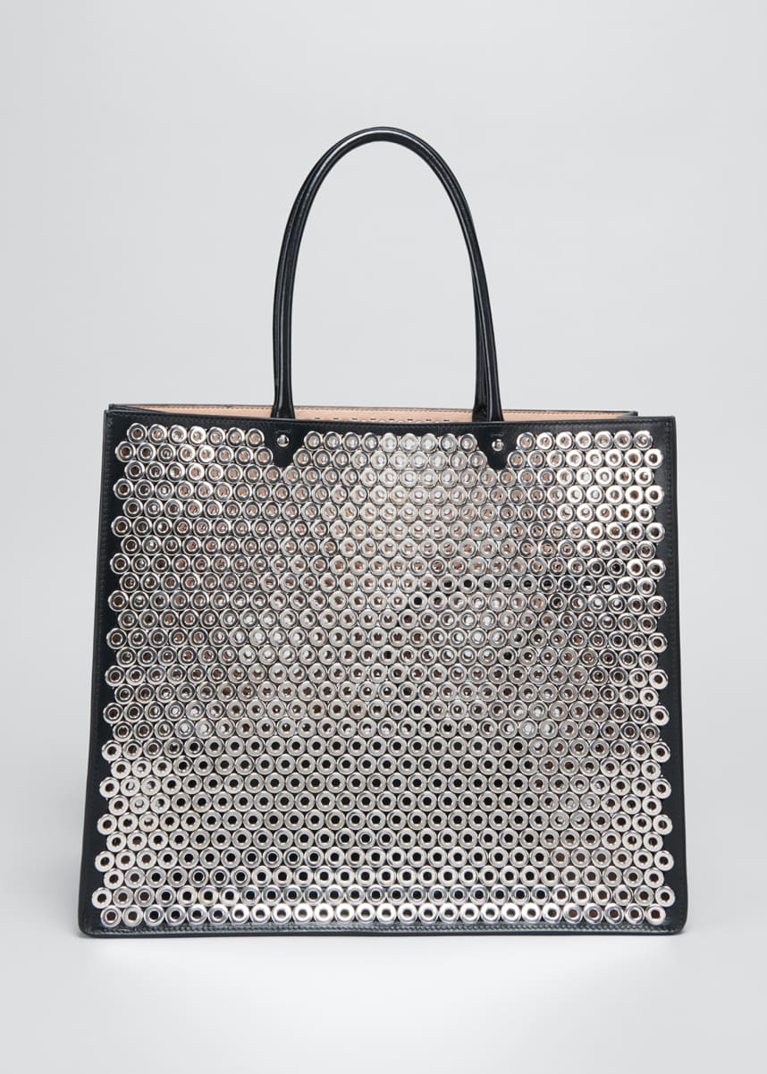 ALAIA Garance Medium Metallic Grommet Tote Bag