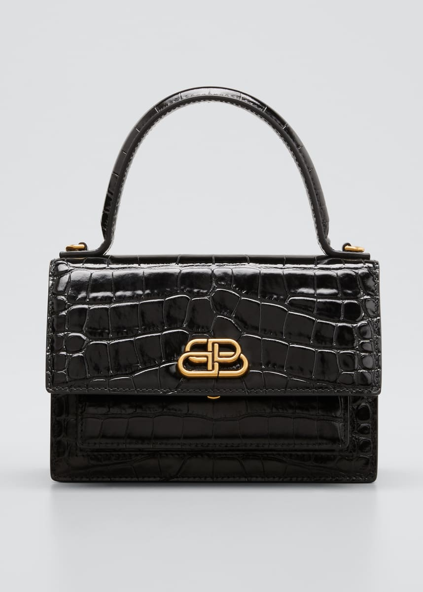 Balenciaga Sharp XS Mock-Croc Satchel Bag