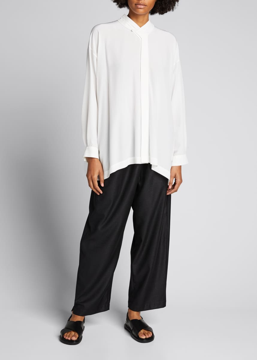 Eskandar Collared A-Line Silk Shirt with Pleats
