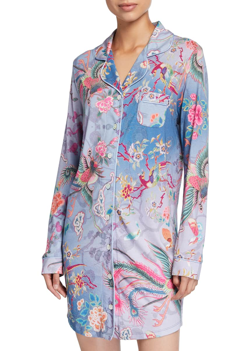 Johnny Was Floral Print Long-Sleeve Sleep Shirt