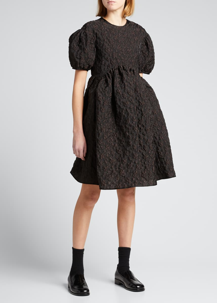 Cecilie Bahnsen Puff-Sleeve Crewneck Panel Dress