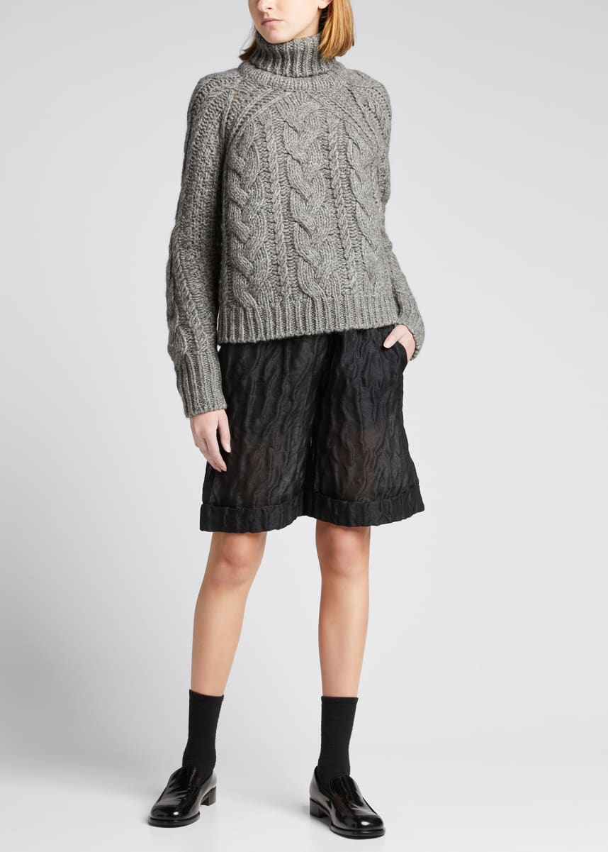Cecilie Bahnsen Cable-Knit Wool-Blend Turtleneck Sweater