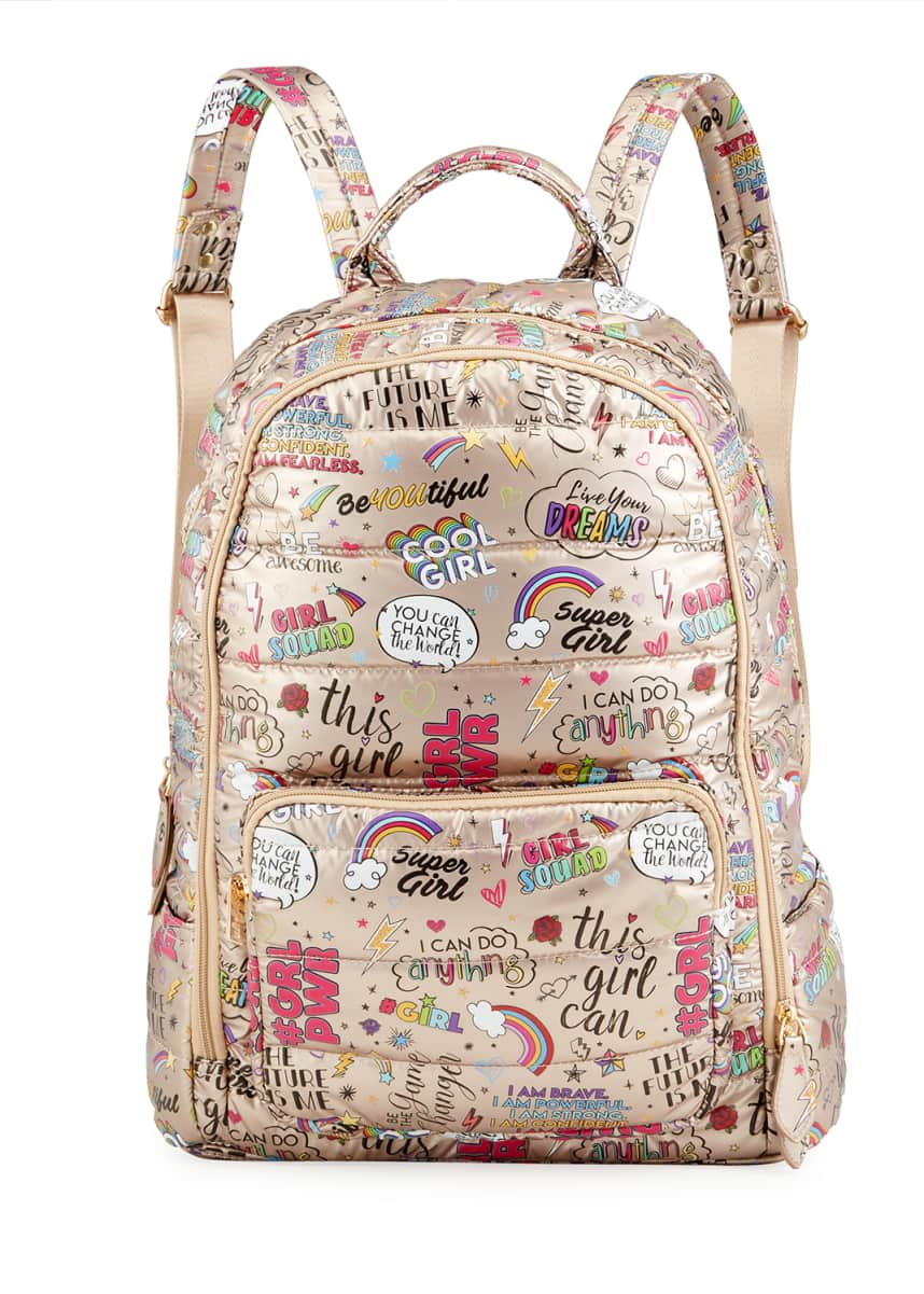 Bari Lynn Girl's Large Metallic Quilted Girl Power Graphic-Printed Backpack