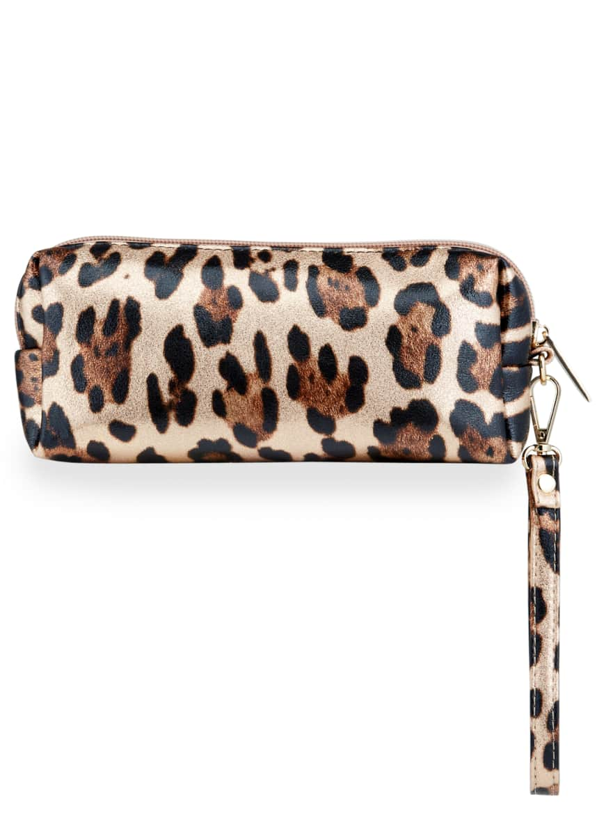 Bari Lynn Girl's Metallic Leopard-Printed Pencil Case
