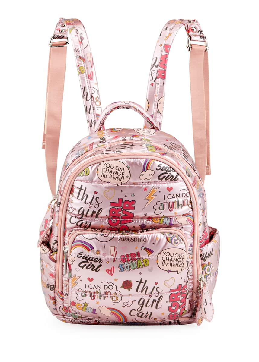 Bari Lynn Girl's Small Metallic Quilted Girl Power Graphic-Printed Backpack