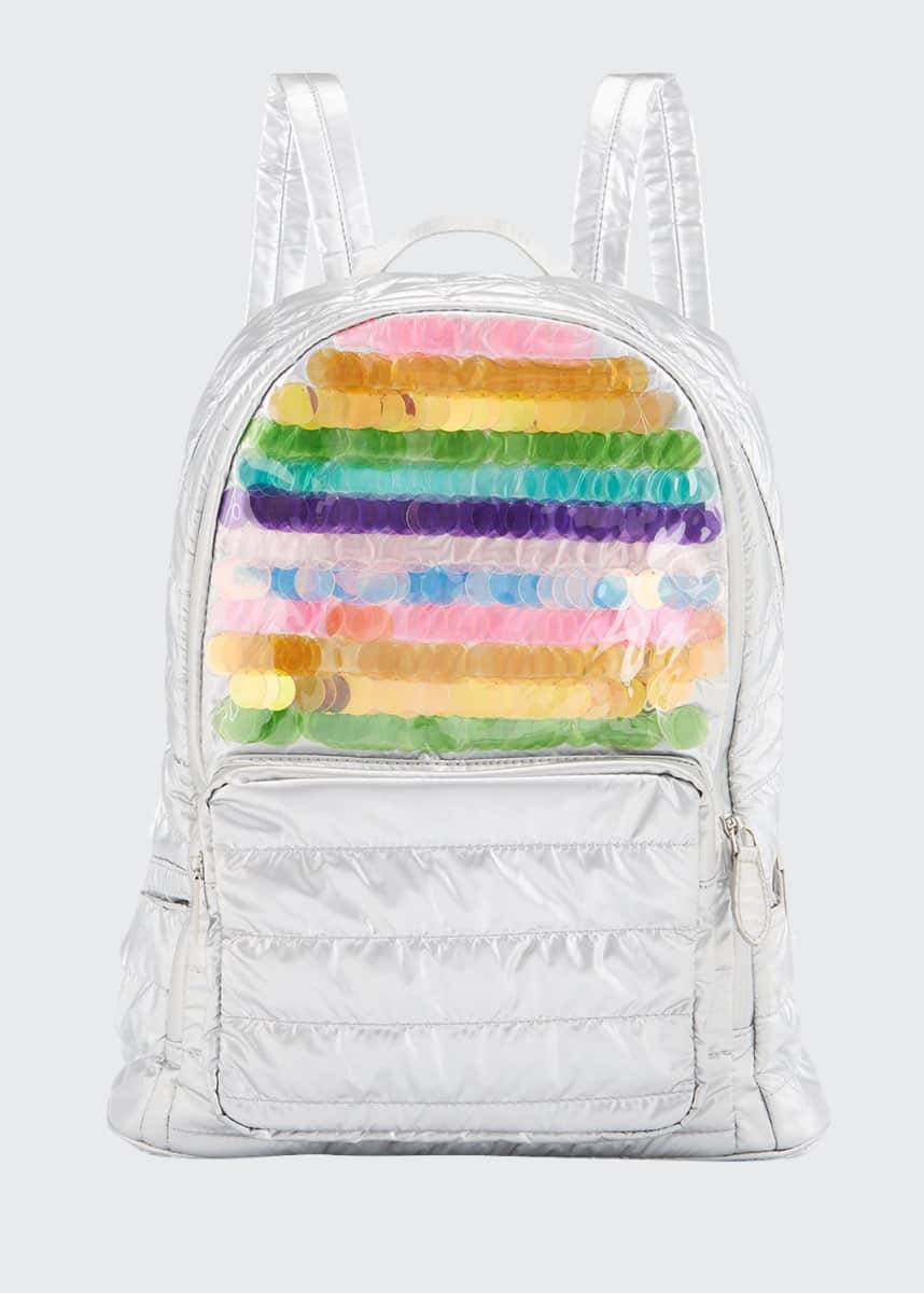 Bari Lynn Girls' Rainbow Sequin Quilted Puffy Backpack