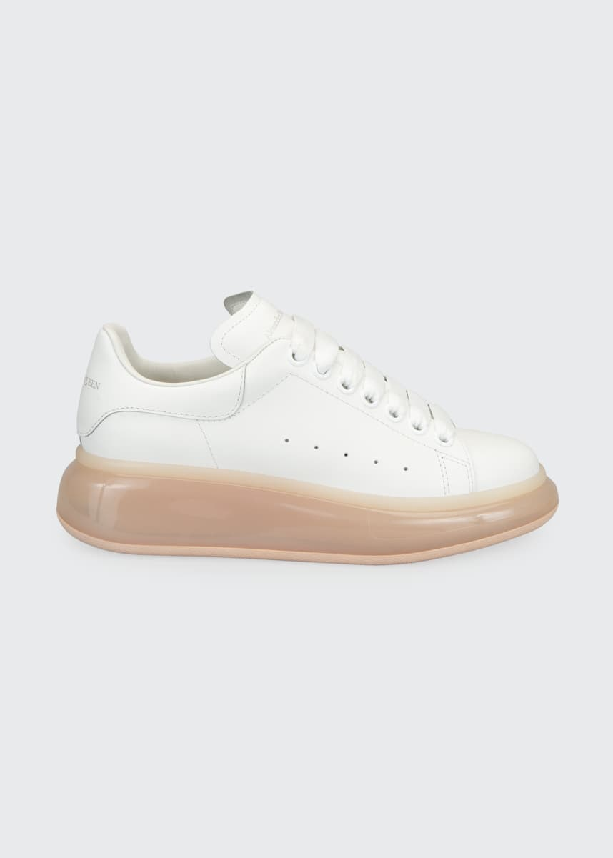 Alexander McQueen Oversized Leather Transparent-Heel Sneakers