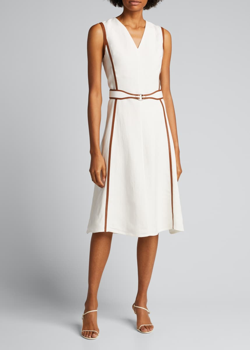 Ralph Lauren Collection Channing Leather-Trim Belted Day Dress