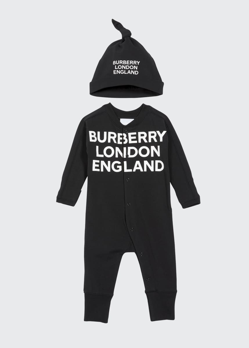 Burberry Cleo Logo Coverall w/ Knotted Hat, Size 1-6 Months
