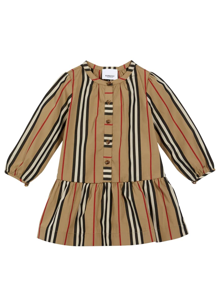 Burberry Girl's Icon Stripe Gathered Poplin Dress, Size 6M-2