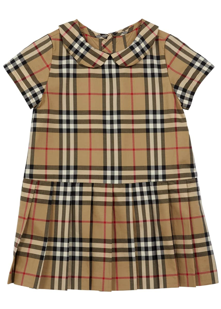 Burberry Girl's Peter Pan Collar Vintage Check Dress, Size 6M-2