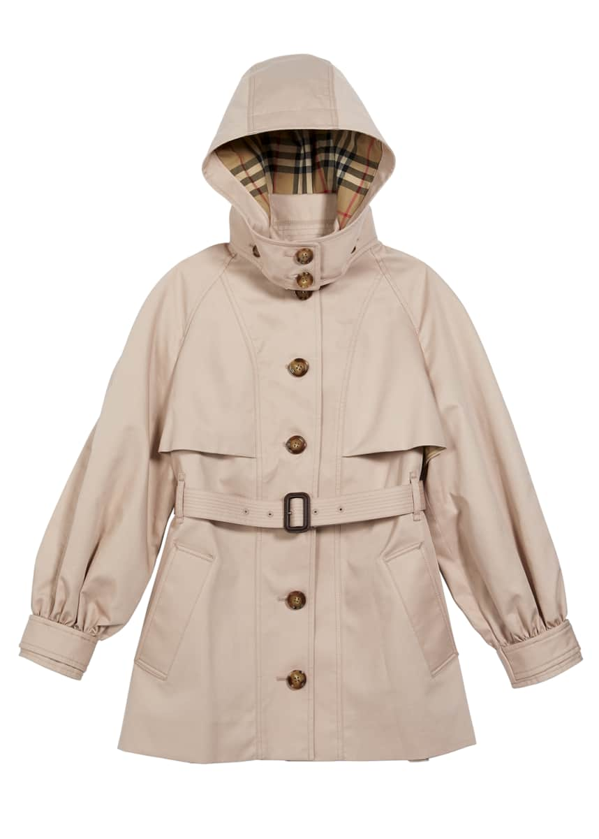 Burberry Girl's Detachable Hood Cotton Twill Trench Coat, Size 3-14
