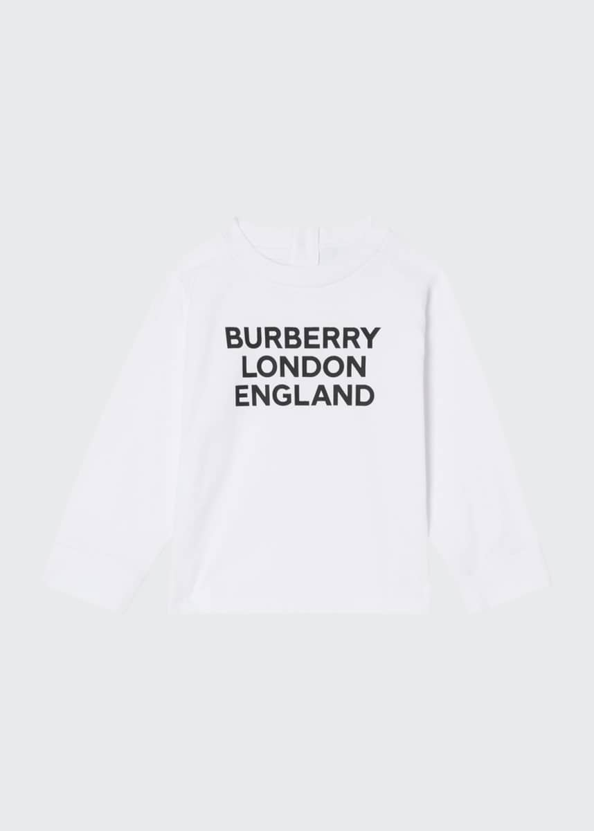 Burberry Kid's Long-Sleeve Typographic Tee, Size 6M-2