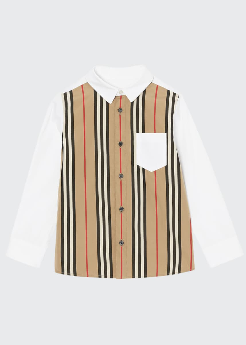 Burberry Boy's Ledger Aboyd Icon Stripe Dress Shirt, Size 3-14