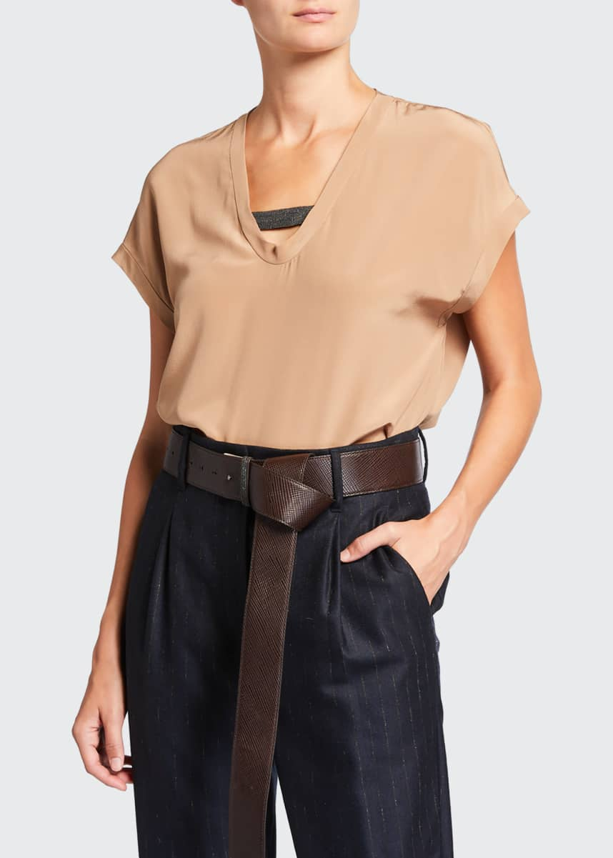 Brunello Cucinelli Short-Sleeve Silk Top with Monili Tab Insert