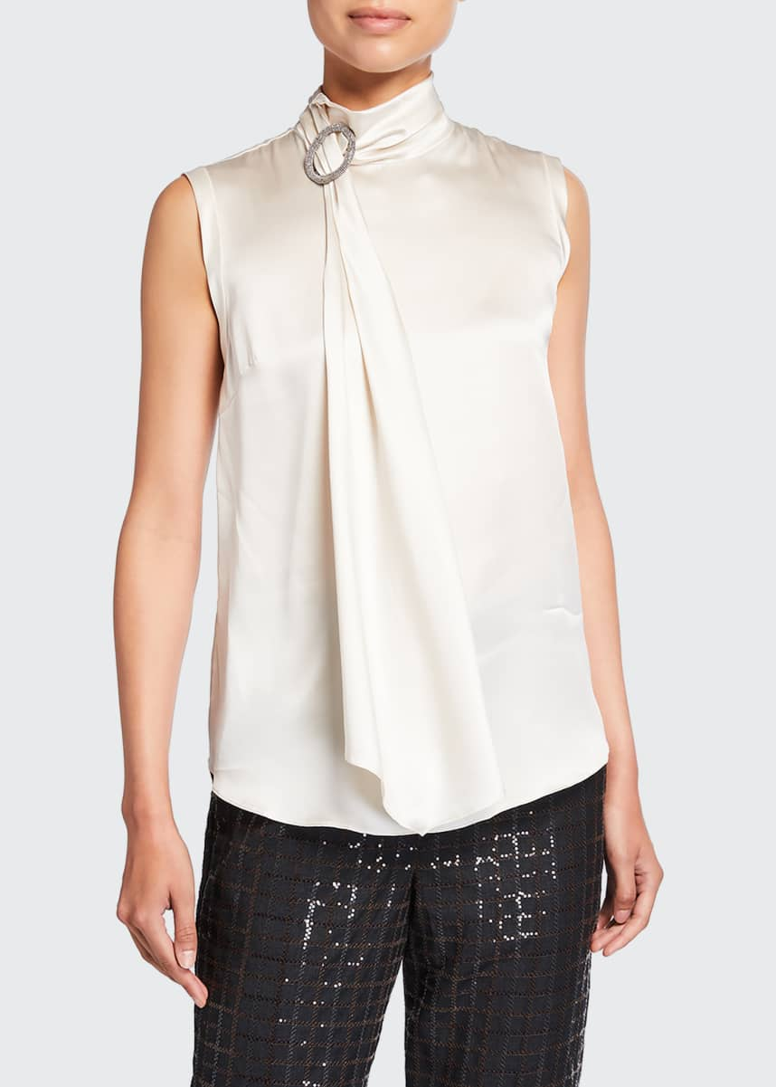 Brunello Cucinelli Wrap-Neck Monili Satin Top