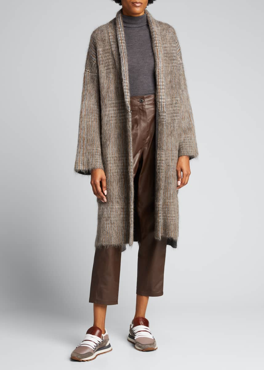 Brunello Cucinelli Fluid Leather Wide-Leg Pants