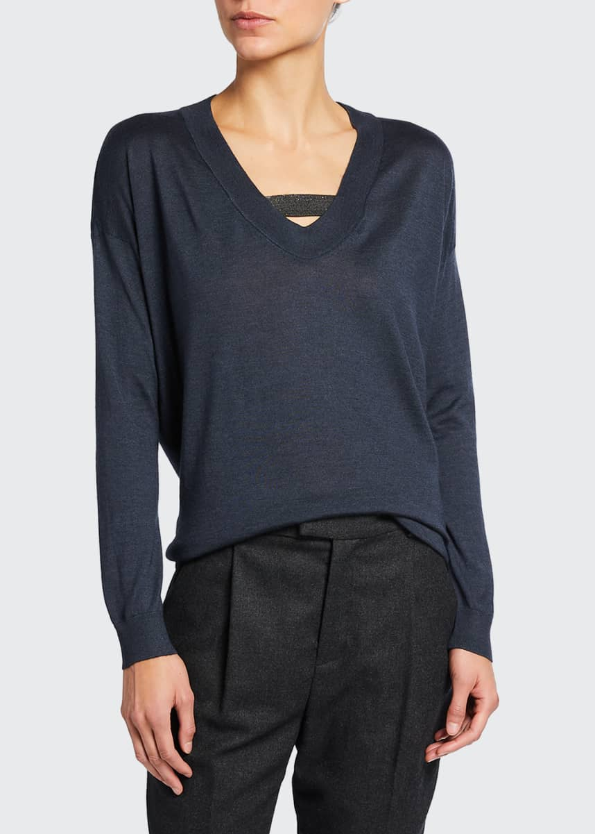 Brunello Cucinelli V-Neck Cashmere/Silk Sweater w/ Monili Strap