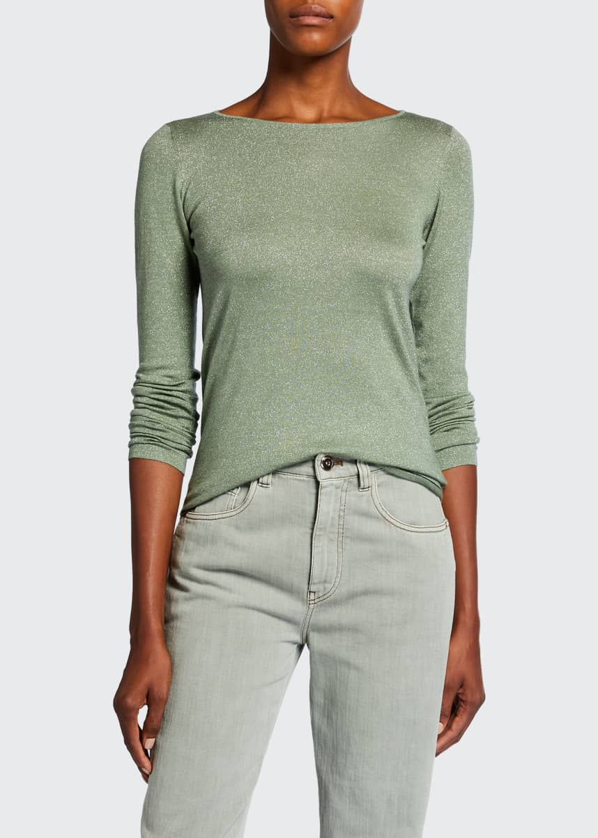 Brunello Cucinelli Cashmere-Blend Metallic Top