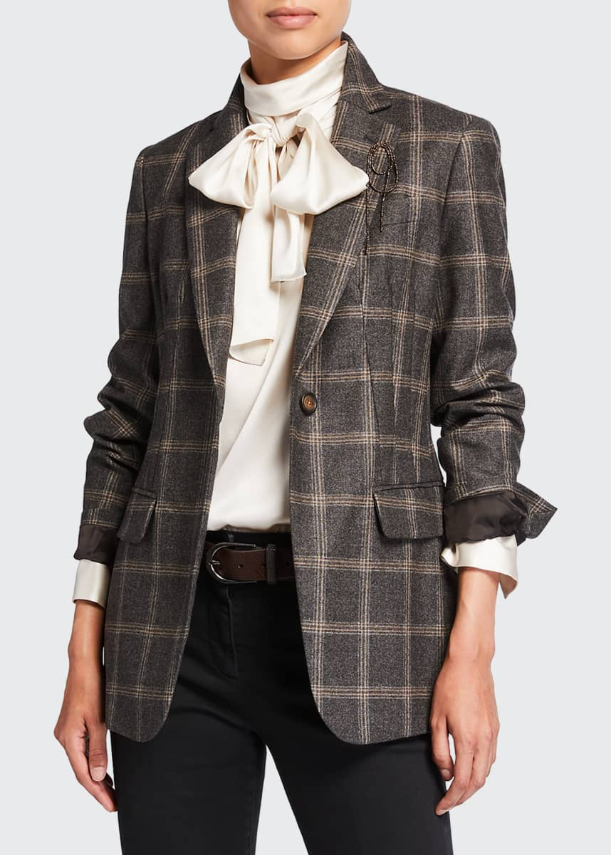 Brunello Cucinelli Check Wool Jacket