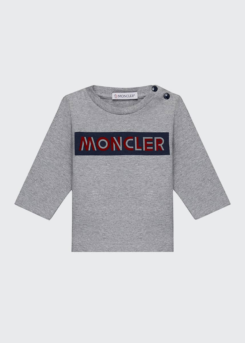 Moncler Block Logo Long-Sleeve T-Shirt, Size 12 Months-3