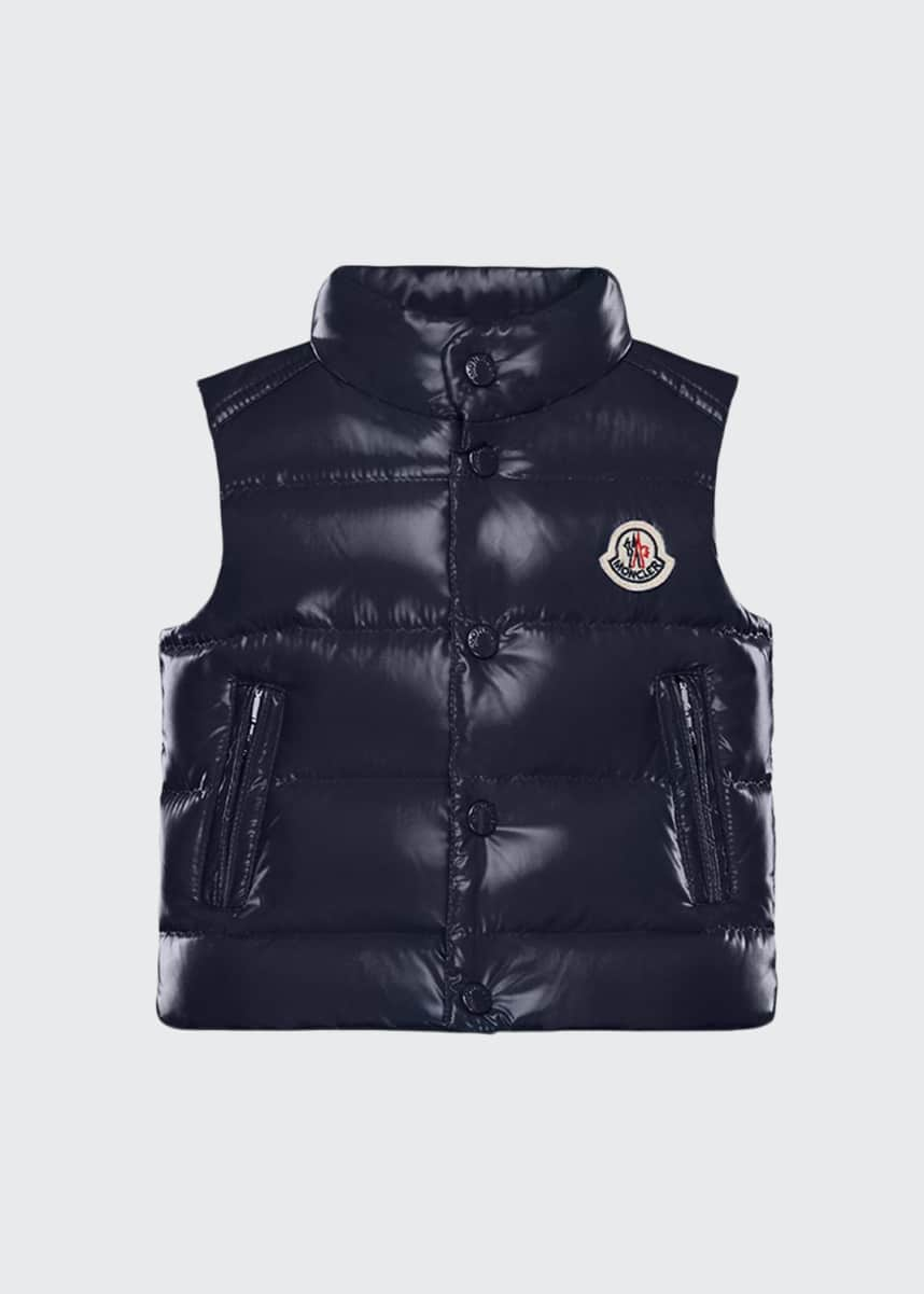 Moncler Bernard Shiny Quilted Puffer Vest, Size 12M-3