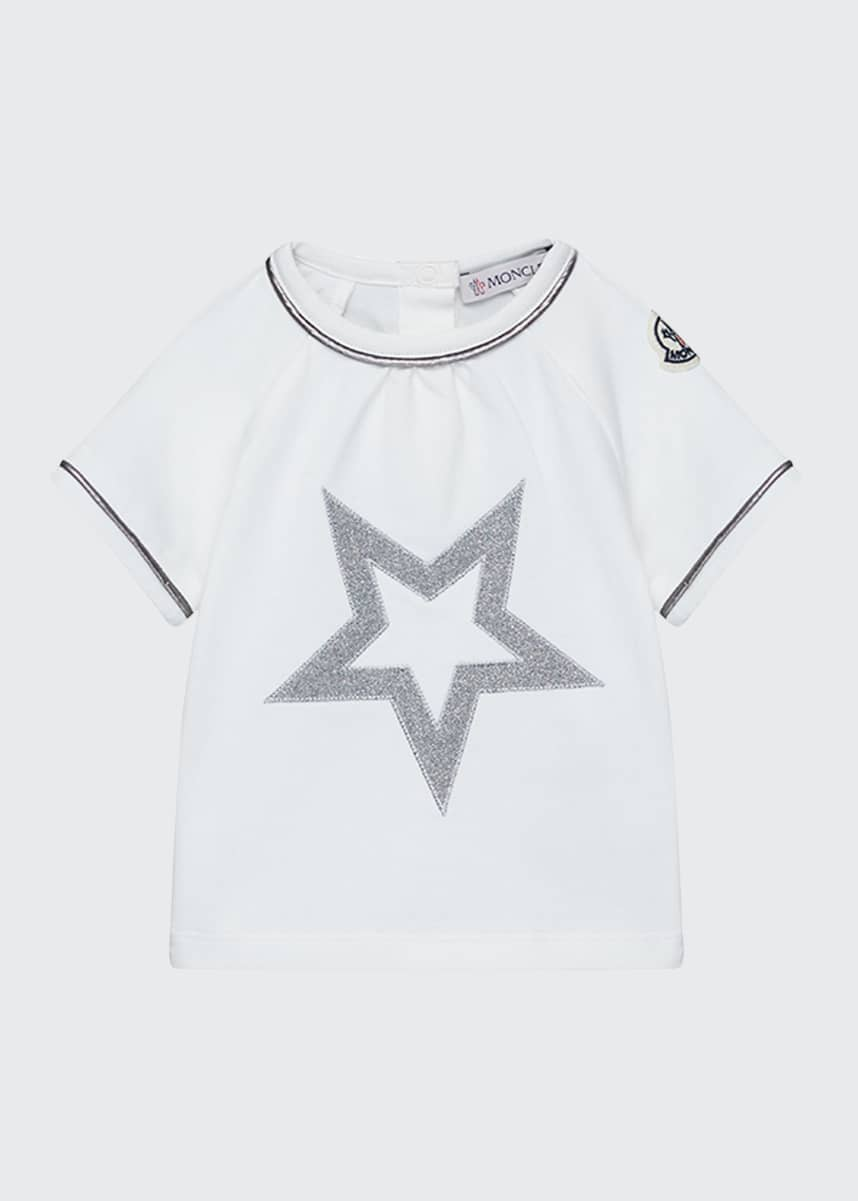 Moncler Short-Sleeve Sparkle Star T-Shirt, Size 12M-3