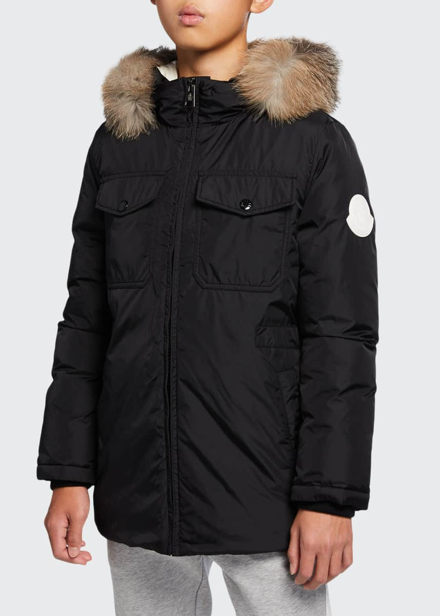 Moncler Menue Long Hooded Parka w/ Fur Trim, Size 8-14