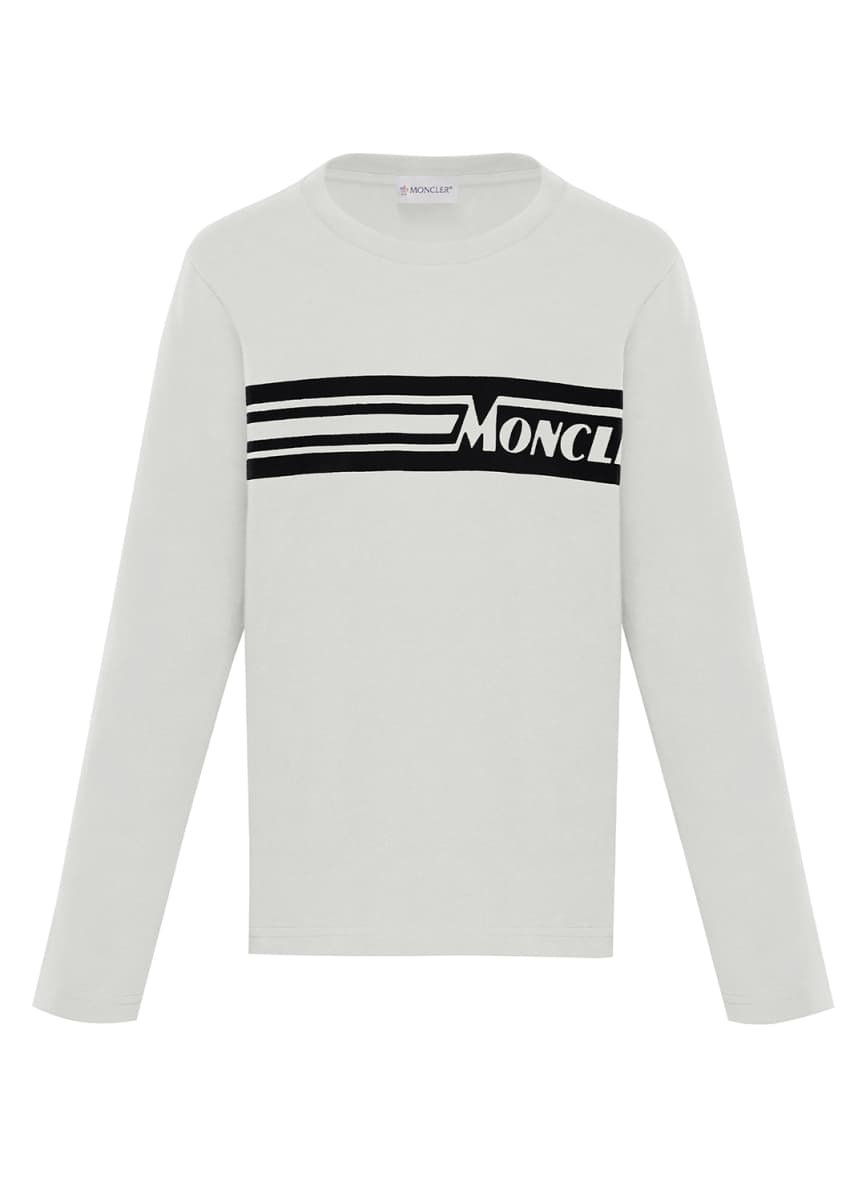 Moncler Long-Sleeve Logo T-Shirt, Size 4-6