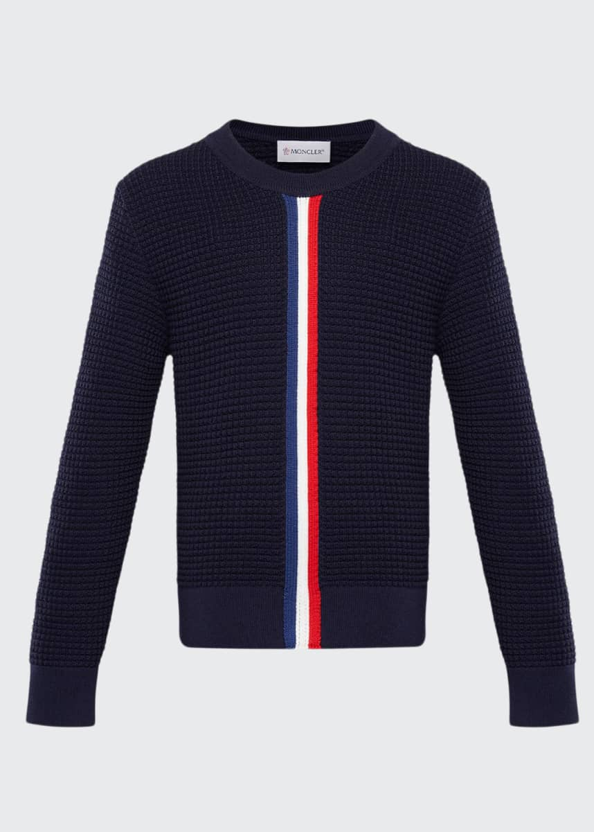 Moncler Boy's Crewneck Sweater w/ Center Stripe, Size 8-14