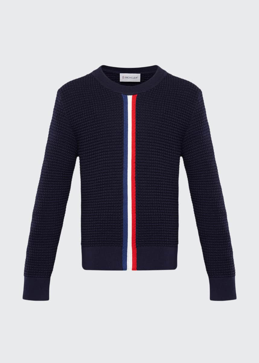 Moncler Boy's Textured Crewneck Sweater w/ Center Stripe, Size 4-6