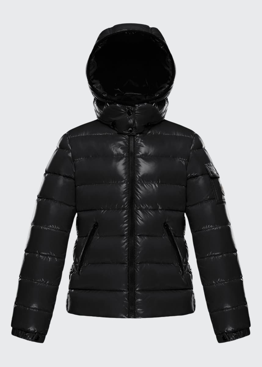 Moncler Bady Laque Quilted Hooded Puffer Jacket, Size 8-14