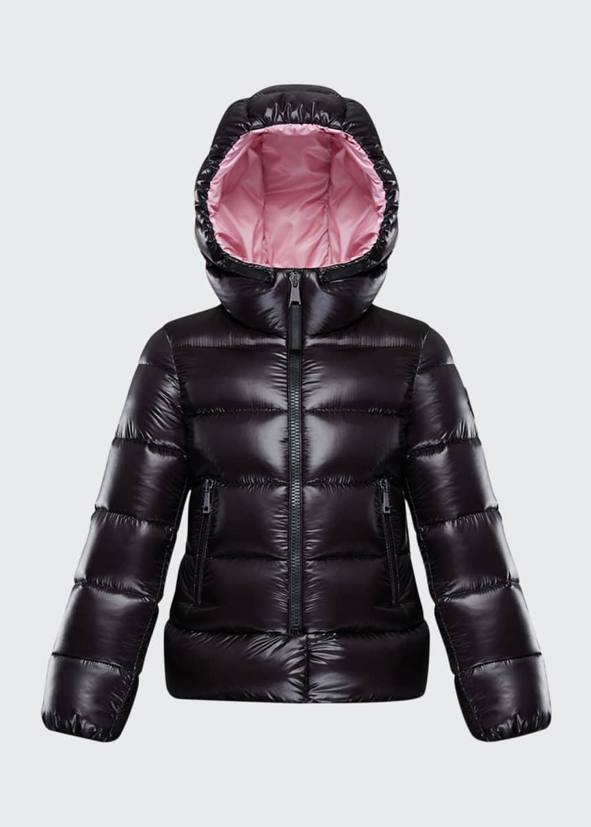 Moncler Sunday Laque Hooded Quilted Jacket, Size 4-6