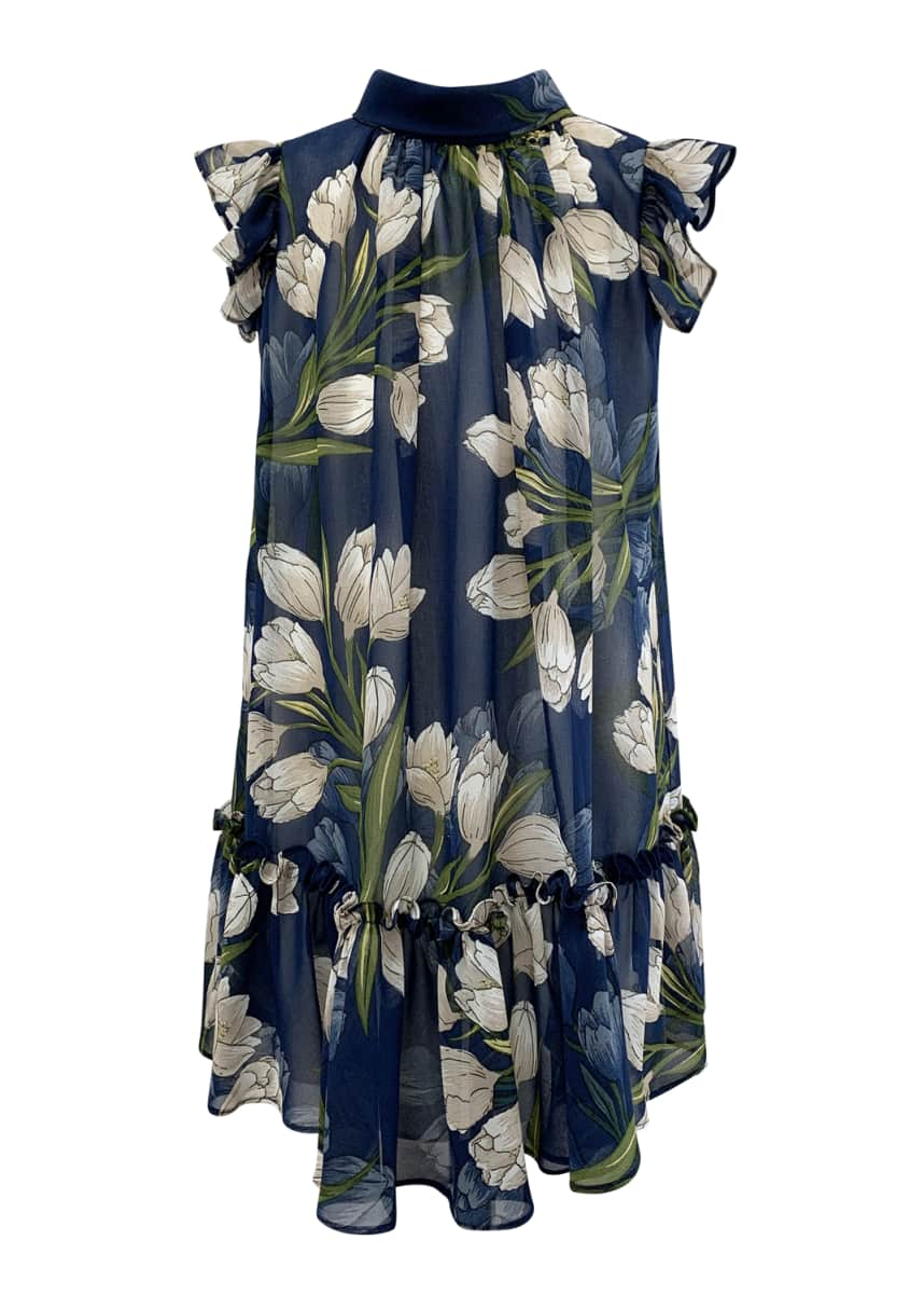 Helena Girl's Tulip-Print Chiffon Dress, Size 7-14
