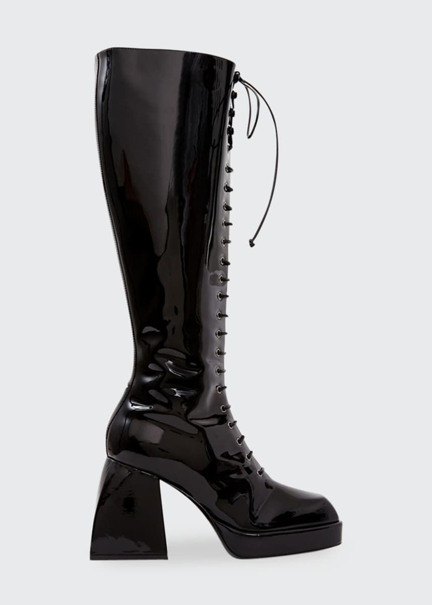 Nodaleto 85mm Bulla Ward Patent Lace-Up Knee Boots, Black