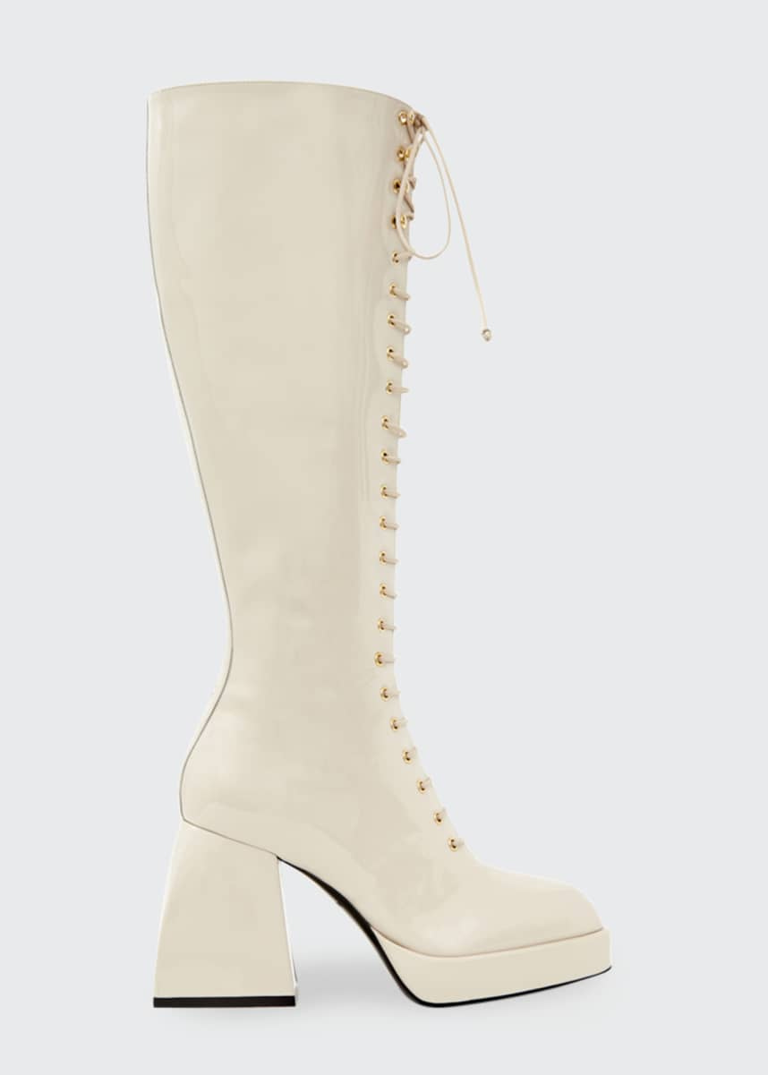 Nodaleto 85mm Bulla Ward Patent Lace-Up Knee Boots