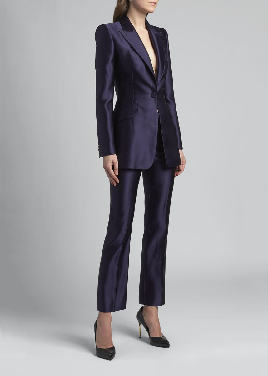 Alexander McQueen Shiny One-Button Silk Blazer