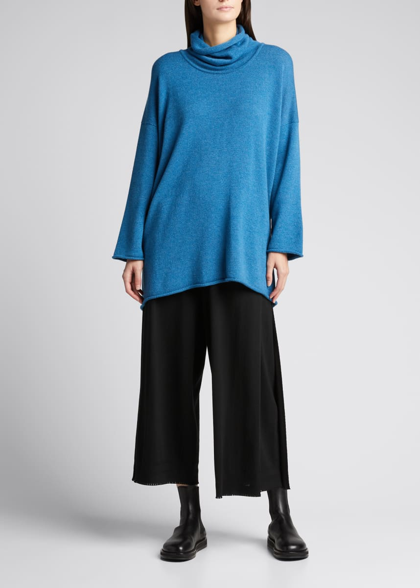 Eskandar Cowl-Neck Cashmere Monk Top