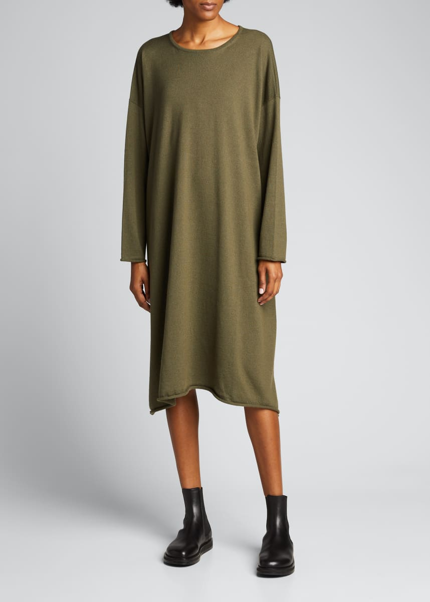 Eskandar Rolled Silk-Cashmere Dress